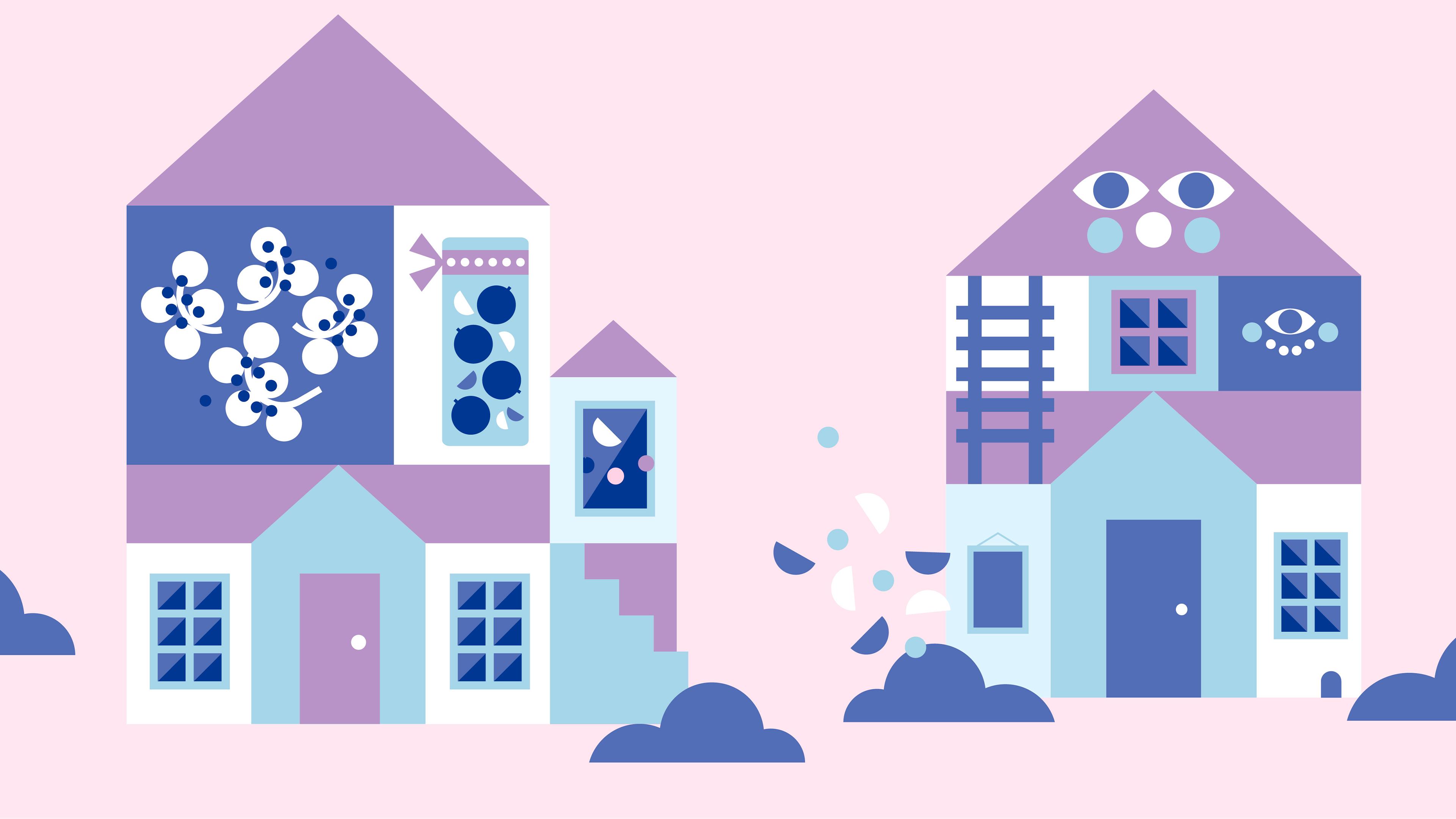 Piirroskuva, jossa kaksi taloa.