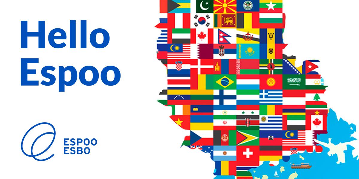 Espoon logo ja piirroskuva kartasta, jossa Espoon kohdalla eri maiden lippuja.