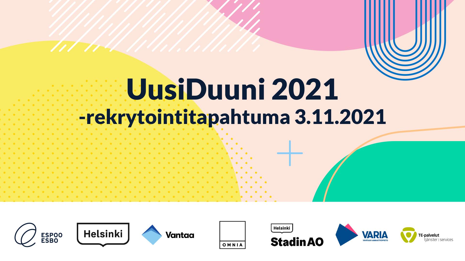 UusiDuuni 2021 -rekrytointitapahtuma järjestetään 3.11.2021. Kuvan alareunassa järjestäjien logot.